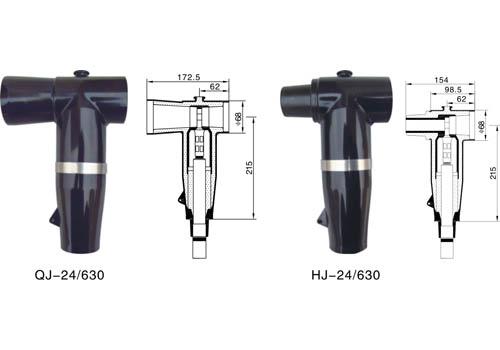 产品说明: 24kv欧式前/后电缆接头 24kv前/后电线接头应用于24kv设备